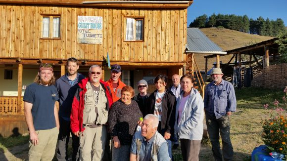 The PCC16-Georgia group poses at the Old Omalo Guest House in the Tusheti Region, Georgia.