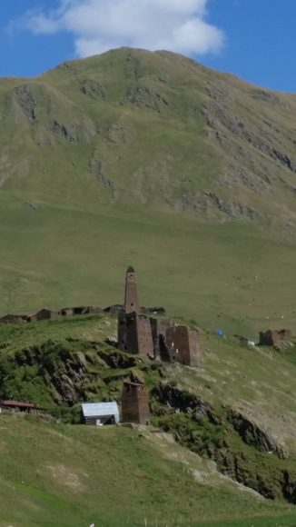 Fortified towers are a typical feature of many homes in the Greater Caucasus mountains.