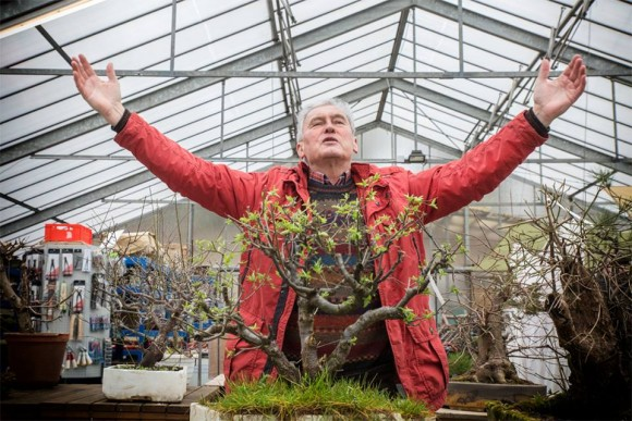 PHOTO: Bonsai master Walter Pall in the greenhouse.
