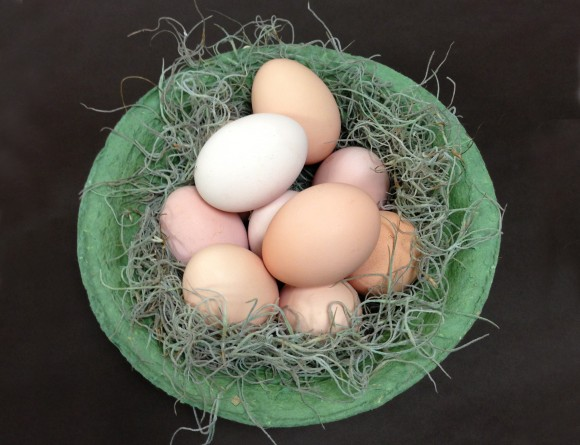 PHOTO: A variety of natural-colored hen eggs in a bowl.