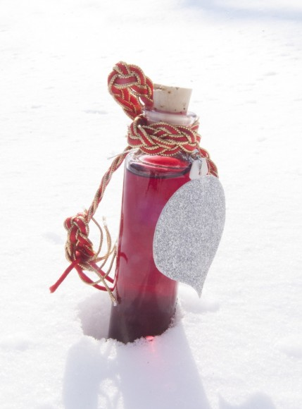 PHOTO: Ruby-colored blackberry vodka in a delicate bottle with a cork stopper.
