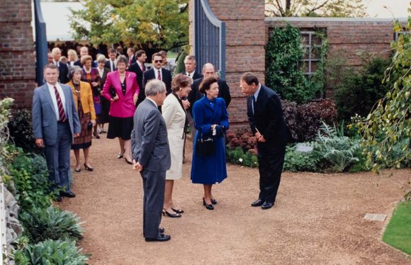 Princess Margaret visits the opening of the English Walled Garden in 1991.