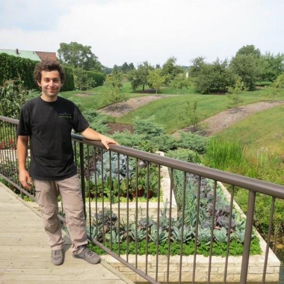 PHOTO: Maxime Soens with the Fruit & Vegetable Garden terraces.