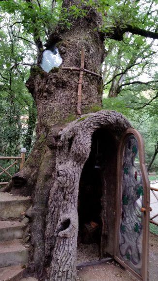 Religious shrine built inside a 450-year-old Quercus hartwissiana at Kutaisi Botanical Garden.