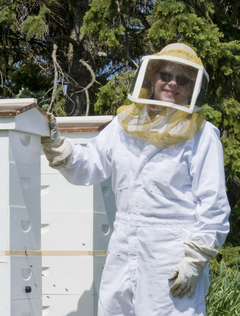 Volunteer beekeeper Anne Stevens.