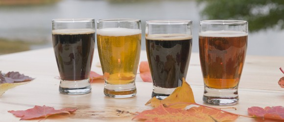 "PHOTO: A ""flight"" of four beers, showing different colors and ales."