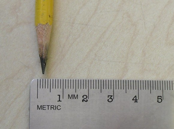 PHOTO: A ruler measures the tip of a pencil lead.
