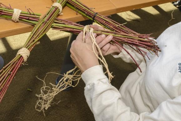 PHOTO: Cover zip ties with raffia.