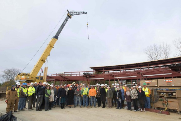 Despite the blustery day, the construction team was excited to celebrate the success of the project so far.