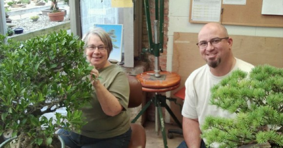 Volunteer Eileen Michal working on Bonsai with Chris Baker.