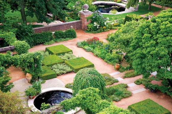 PHOTO: An aerial view of the garden displays its perfect ordered chaos.