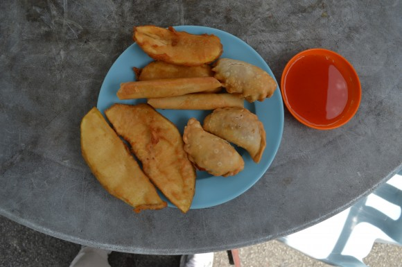 PHOTO: A plate of fried breadfruit with dipping sauce.