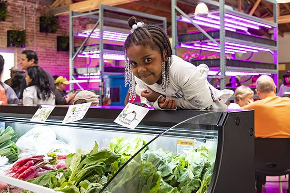 A little girl leans over the fresh produce counter in the new Farm on Ogden.