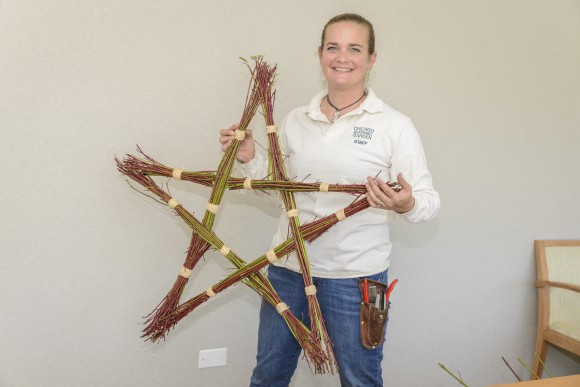 PHOTO: Heather models the finished star wreath.
