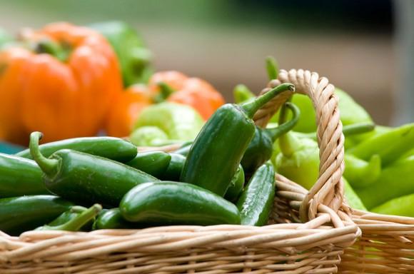 PHOTO: Fresh produce in a wicker basket.