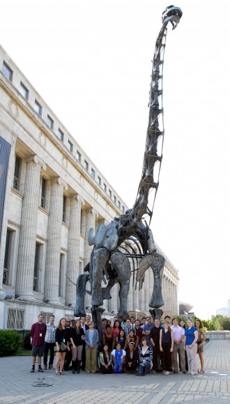 PHOTO: The REU group gathered in front of the brontosaurus skeleton on the grounds of the Field Museum.