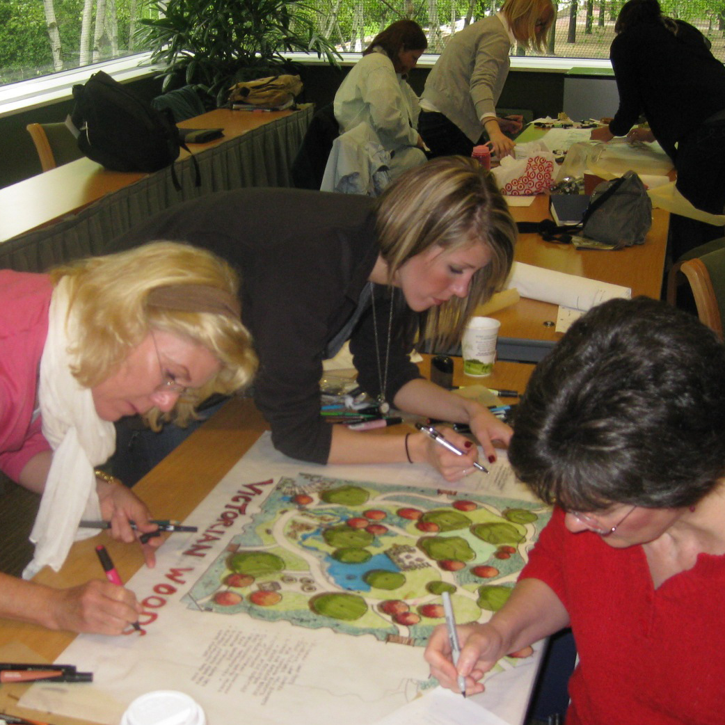 PHOTO: Healthcare Garden Design certificate program participants finalize a design.
