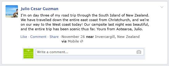 PHOTO: Facebook status update.
