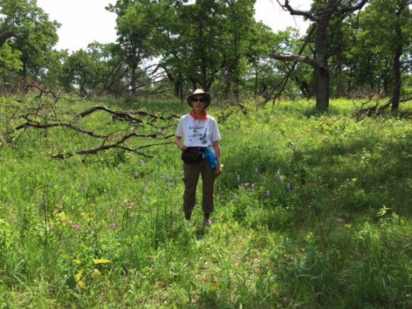 PHOTO: Karen Lustig on the prowl for Plants of Concern.
