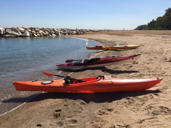 PHOTO: Kayaks on the shoreline of Rosewood Beach in Highland Park.