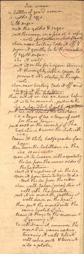 PHOTO: Jefferson's vanilla ice cream recipe: Holograph, 1780s. Manuscript Division, Library of Congress.