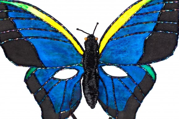 """PHOTO: """"Bye Bye Butterflies """" mask."""