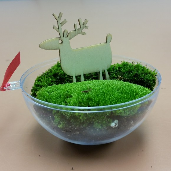 PHOTO: The moss ornament is almost complete with charcoal, soil, moss, and reindeer!