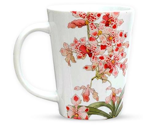 PHOTO: Delicate orchids decorate a white china tea mug.