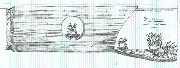 Gabriel Hutchison's Japanese tea house sketch illustrates his concept for the show.