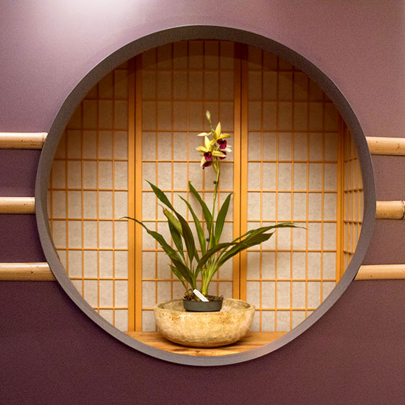 """A fabricated """"window"""" backed by shoji screens for the Orchid Show 2018"""