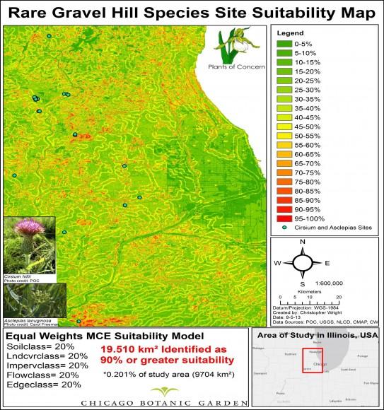 MAP: Rare gravel hill species site suitability map.