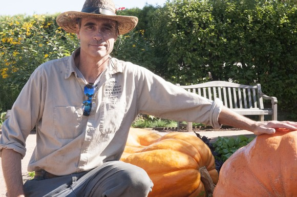 PHOTO: Riley Obenchain with giant pumpkins.