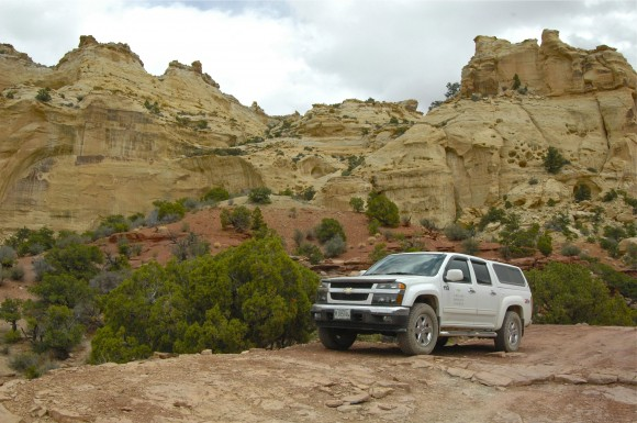 The Garden research vehicle awaits Dr. Still in Utah's San Raphael Swell.