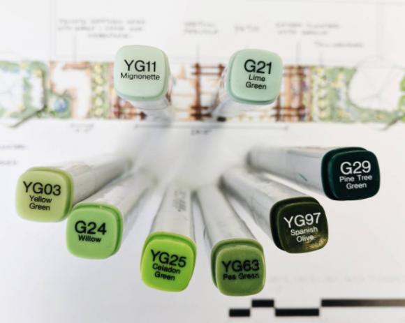 Landscape design rendering using a full range of greenery-shaded markers. (Designer: Clare Johnson)
