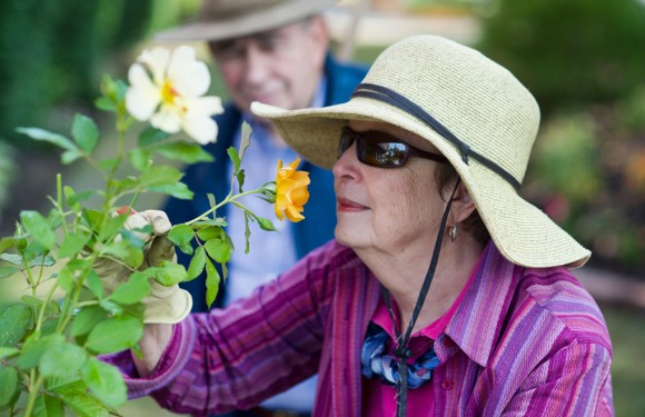 PHOTO: An elderly woman smelling a yellow rose and smiling.