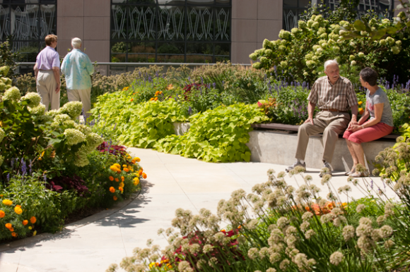 PHOTO: A lush urban garden has raised beds which provide seating, and a riot of colorful plantings.