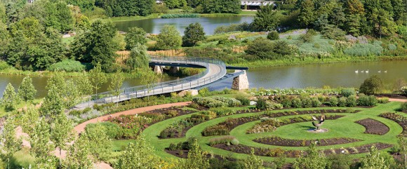 Overhead view of the bridge and gardens in mid-spring.