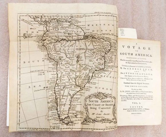 Map of a voyage to South America by Ulloa and Juan, 1772