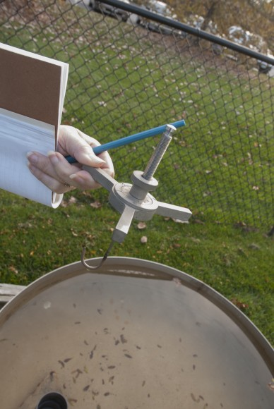 PHOTO: The hook gauge which usually rests in a container inside the evaporation pan.