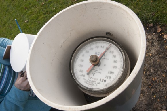 Weather station soil temperature gauge.