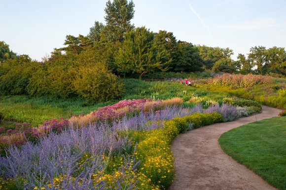 View of the landscape design of Evening Island, designed by Oehme, van Sweden & Associates.