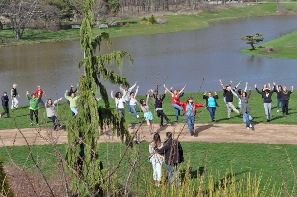 PHOTO: A group of people dancing on the Ken, a green field in front of the Japanese Garden.