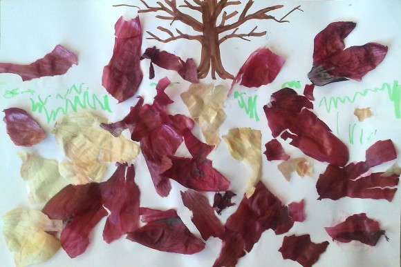 PHOTO: Onion skins provide the fall leaves for our tree painting.