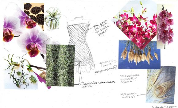 Materials sketch by horticulturist Salina Wunderle for one of this year's highlights: 3 orchid gowns.