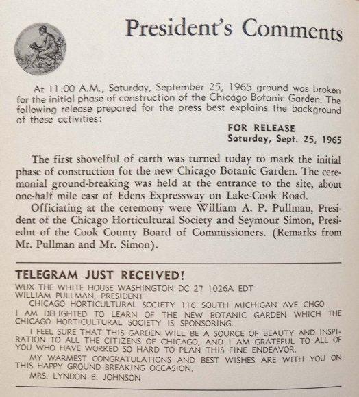 Telegram to the Garden from Lady Bird Johnson.