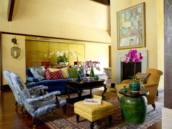 Bold yellow interior design by Martyn Lawrence Bullard.