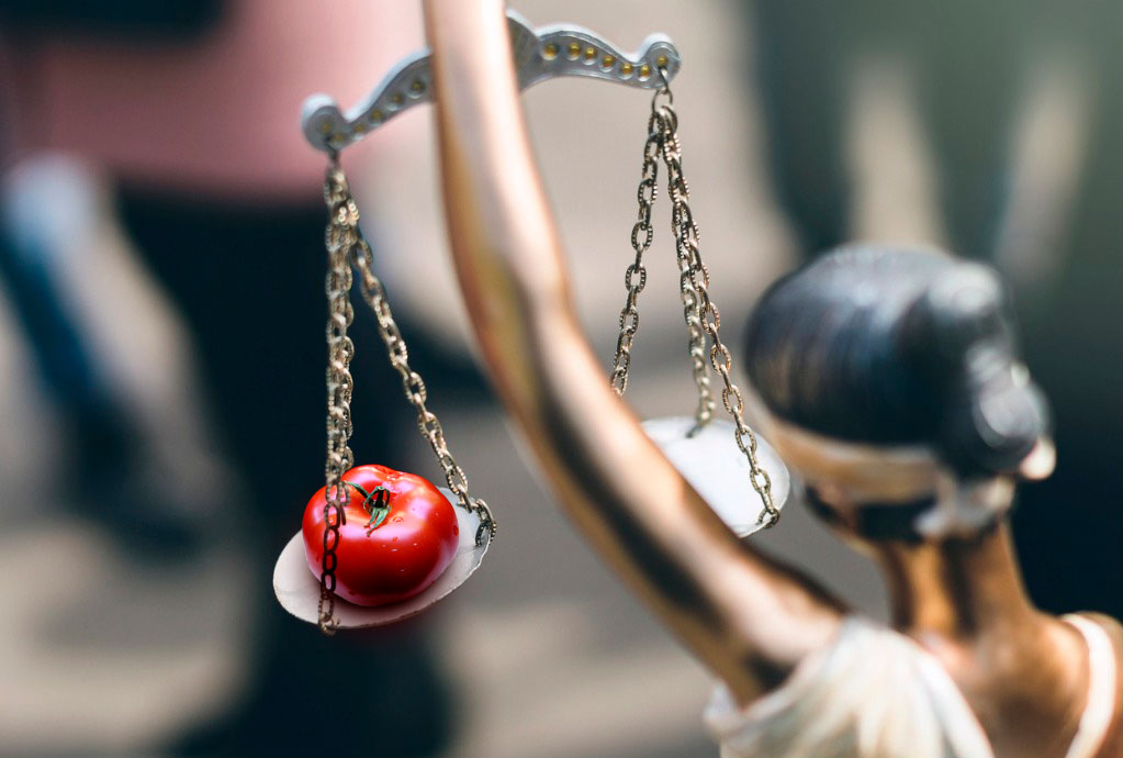 Blindfolded Lady Justice weighs a tomato