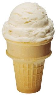 PHOTO: Plain vanilla ice cream cone.