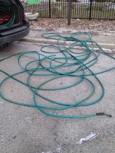 frozen hose in winter.